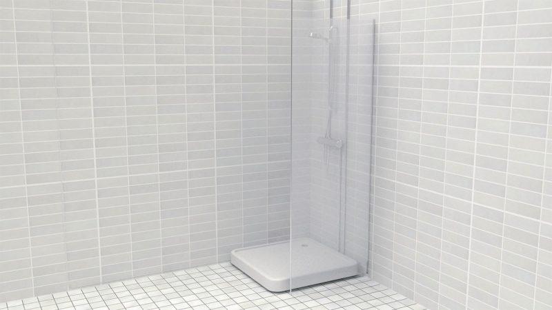 Ensavetec suihku LTO:n  asentamiseen kuluu noin tunti, eikä sen takia tarvitse tehdä remonttia. Vesi valuu laitteeseen, joka ottaa lämpöenergian talteen ja käyttää sen kylmän veden esilämmitykseen. Kuva: Ensavetec